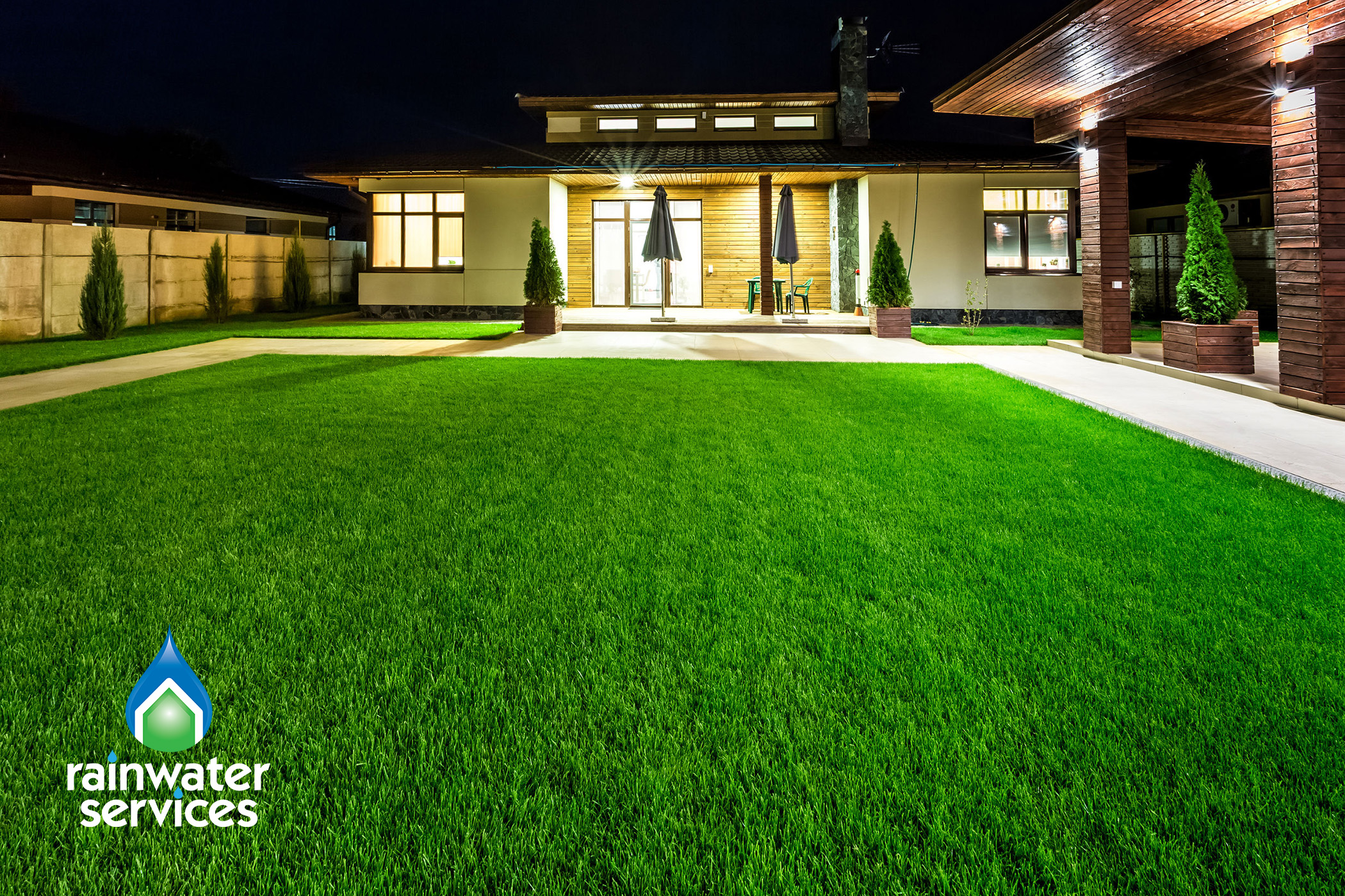Rainwater services healthy lawn irrigation system